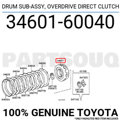 3460160040 Genuine Toyota Drum Sub-assy Overdrive Direct Clutch 34601-60040