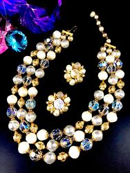 Rare Crown Trifari Goldtone Faux Baroque Pearl Crystal Bead Necklace Earring Set