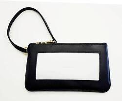Wrist Bag Purse Smooth Black Leather Bag 43 For Needlepoint Canvas Insert By Lee