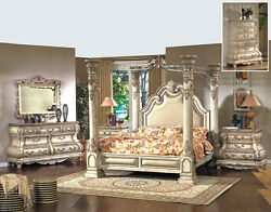 5pc Royal French Bombay King Canopy Bedroom Set Antique Cream