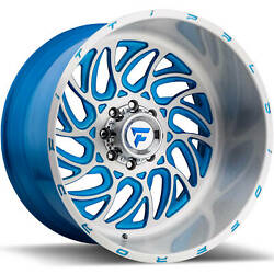 24x14 Brushed Blue Fittipaldi Offroad FTF09 Wheels 8x6.5 -76 Lifted Fits Dodge