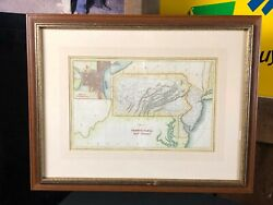 Framed Under Glass Antique Map, 1832 Pennsylvania And New Jersey, Hinton