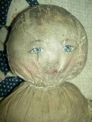 Very Early Antique Cloth Doll Primitive Oil Painted Features Antique Clothing