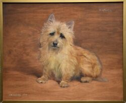 "Frances Mabel HOLLAMS (1877-1963) ""Michael"" Cairn Terrier Oil Painting."