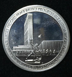 United Nations 40mm 25th Anniversary Sterling Silver 925 1945 1970 39mm