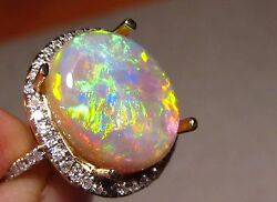 Brilliant Gem Opal And Diamond Cocktail Dress Ring 14k Yellow Gold