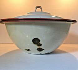 Enamelware Bowl/basin W Lid Red And White