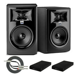 Jbl 306p Mkii Powered 6 Two-way Studio Monitors Pair With Iso Pads And Cable