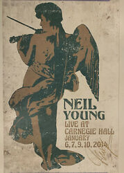 Neil Young Autographed Carnegie Hall Concert Poster signed in gold. PSADNA COA