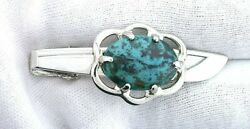 1 4/5 Inch 18x13 Oval Turquoise Gemstone Sword Silver Color Tie Clip Tie Bar