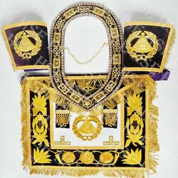 Hand Embroidered Deputy Grand Master Apron With Collar And Cuffs Purple