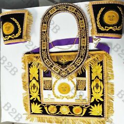 Hand Embroidered Grand Master Aproncuffand039s And Collar Purple