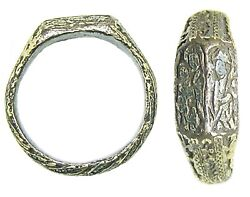 Rare 15th Century Medieval Silver-gilt Iconographic Ring Holy Family Mary And Anne
