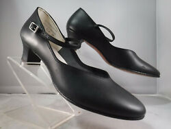 PFR VTG BLACK CHARACTER MARY JANE HEEL MAN MADE LEATHER SOLE DANCE SHOES 11.5 M
