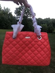 Kate Spade Gold Coast Maryanne Flo Coral Quilted Leather Bag Large Purse Handbag