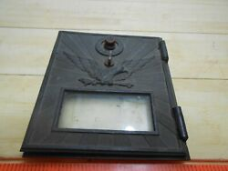 Art Deco Brass Eagle Postal Mail Box Plate 6 X 5.25 Door Orig. Glass And Comb.