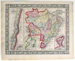 1866 Chile Brazil Bolivia Paraguay Uruguay Mitchell Antique Hand-colored Map