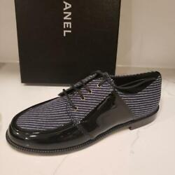 18a Striped Fabric Patent Leather Loafers Oxfords Flat Shoes 1025
