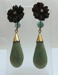 Antique Jade And Diamond 18ct Gold Earrings
