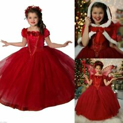Toddler Kids Girls Dresses Costume Snow White Princess Party Fancy Dress + Cape