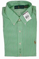 New Polo Dress Shirt Green And White Stripes Us And Euro Sizing