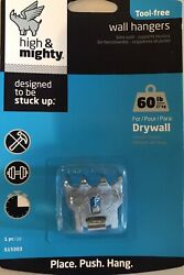 Hillman 515303 High amp; Mighty Wall Hanging Hooks 60 Lbs: Designed to be STUCK UP