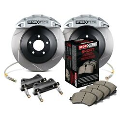 StopTech Front Big Brake Kit Silver Calipers Slotted for 02-07 WRX 02-09 2.5RS