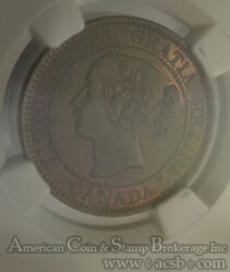 Canada 1c One Cent 1859 Ms62 Bn Ngc Zoell R2a Repunched 5 Rare Die Variety