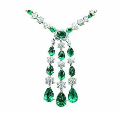 EMERALD PEAR AND OVAL SHAPE DIAMOND ROUND AND PEAR SHAPE DROP STYLE NECKLACE