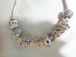 Pandora Sterling And 14kt Charm Bracelet Retired Charms Gold And Silver