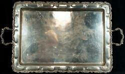 Art Nouveau By Lm .925 Sterling Silver Large Serving Tray Handles