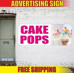 Cake Pops Advertising Banner Vinyl Mesh Decal Sign Candy Bar Cup Cakes Funnel