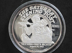 1988 Norman Rockwell Setting Oneand039s Sights 2 Troy Oz. Silver Round D8210