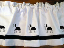 Boston Terrier Dog WIndow Valance or Shower Curtain color choices
