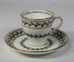 Minton Demitasse Cup And Saucer With Leaves And Berrie's And Raised Gold Dots