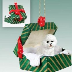 BICHON Christmas GREEN GIFT BOX Dog Ornament HAND PAINTED resin FIGURINE puppy