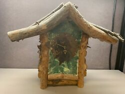 Weird Natural Wood Art Piece Non Working Clock With Green Paint On Plaster