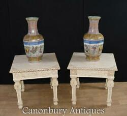 Pair Chinese Bone Side Tables Hand Carved End Table