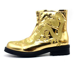 Chinese Dragon Embroidery Mens Leather Shiny Runway Ankle Boot Casual Shoes New