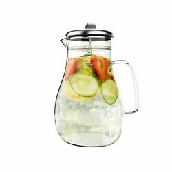 Glass Pitcher Stainless Steel Filtered Lid For Hot Cold Infusion Drinks
