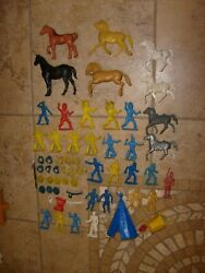 Vintage Western Cowboy Indians Horses Figure And Weapons And Part Lot Lido Marx Mpc