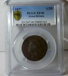 1827 Great Britain Half Penny 1/2d Uk Pcgs Xf40 Xf 40 Certified Graded Coin