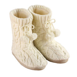 Cable Knit Slippers with Pom Poms Comfortable Booties for Women $9.99