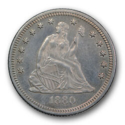 1880 25c Seated Liberty Quarter Uncirculated Mint State Key Date Low Mintage ...