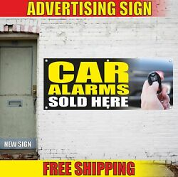 Car Alarms Sold Here Advertising Banner Vinyl Mesh Decal Sign Install Auto Shop