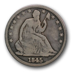 1845 O 50c Seated Liberty Half Dollar Wb 104 Repunched Date Very Good R305
