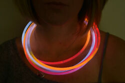 Directglow 50ct Red/orange/white 22 Inch Glow Necklaces Preattached Connectors