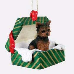 YORKIE PUPPY Christmas GREEN GIFT BOX Dog Ornament HAND PAINTED resin FIGURINE