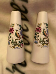Purbeck Ceramics Swanage Salt And Pepper Shakers Asian Pattern Pheasant Flowers