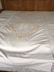 Victorian Embroidered Lace Wedding Bedspread Tapestry Coverlet Cherubs And Lovers